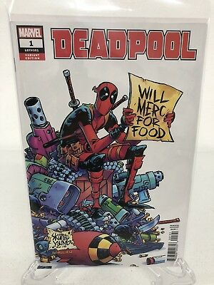 Deadpool #1 2018 Skottie Young Will Merc for Food 1:25 Variant NEW Unread