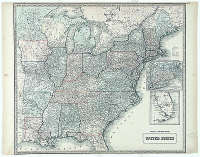 PHILIP & SON Antq&Rare Mid 19thC 1856 MAP UNTIED STATES SHEET II EASTERN STATES