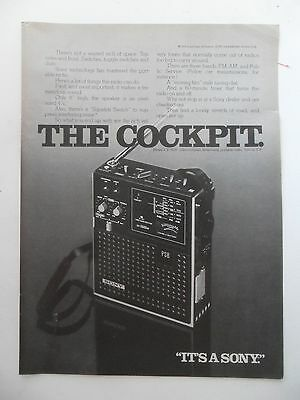 1975 Print Ad SONY Model ICF-5500 3-Band Portable AM FM RADIO ~ THE COCKPIT