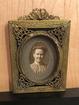 Antique Stunning Miniature Picture Frame  Young Woman French Paris Chic Brass