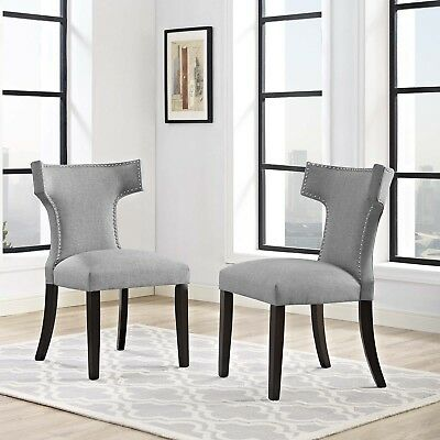 Astounding Upholstered Fabric Nailhead Dining Chair With Wood Legs In Bralicious Painted Fabric Chair Ideas Braliciousco