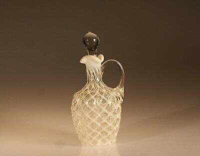 Vintage Northwood Glass Company White Opalescent Paneled Sprig Cruet c.1890