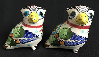 Mexican Stoneware Pottery Set Of (2) Birds Owl Figurines Marked CAT B14 Mexico