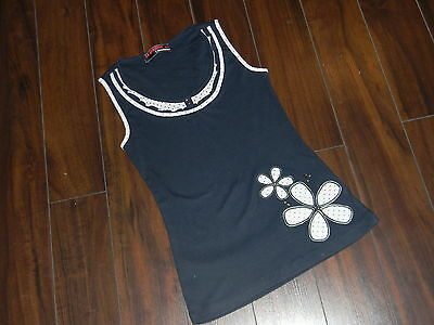 NWOT Women/Junior girl nice cami, navy blue and cream size Adult S=14