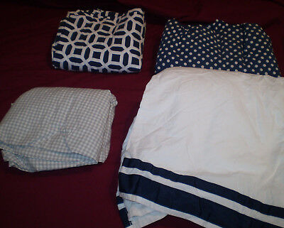 4pc Pottery Barn Kids CRIB SHEETS & SKIRT Harper Peyton Dot gingham blue white