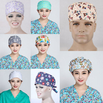 New Men Women Doctor Nurses Printing Scrub Cap Mask Medical Surgical Surgery Hat