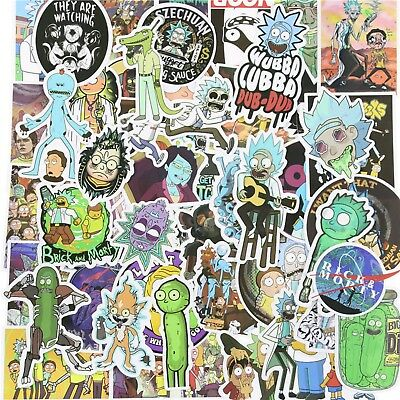 50 x Rick and Morty Stickers Mixed Stickerbomb Cartoon Decal Phone Skateboard