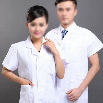 White Lab Coat Medical Unisex Doctor Coats Jackets Nursing Men Women Long S-3XL