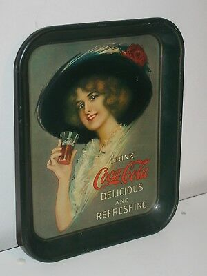 Coca Cola Collectible Vintage 1913 Hamilton King Girl Metal Serving Tray
