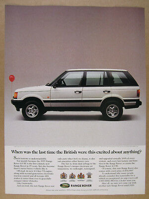 1995 Range Rover P38A 4.0 SE new model white suv photo vintage print Ad