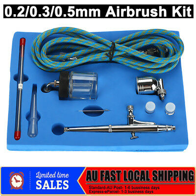 Airbrush Kit Spray Gun Nail Art Tattoo Make Up Air Brush Hose Set 0.2/0.3/0.5mm