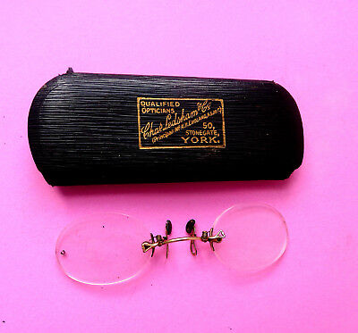 Antique Rimless  Eye Glasses.pince Nez.cased
