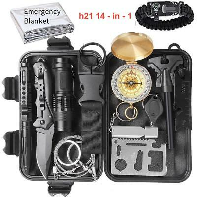 14-in-1 Emergency Compact Survival Kit Outdoors Hiking Tactical Recon Camping