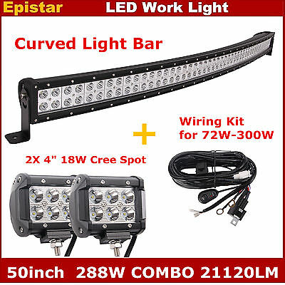 50inch 288W Curved LED Light Bar +Wiring Kit + 2pcs 4inch 18W Spot Work Lights