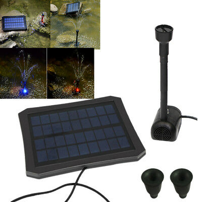 Solar Water Panel Powered Fountain Submersible Water Pump Pond Garden LED Light