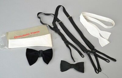 Gentleman's Mid 20th Cent Evening Dress Black & White Bow Ties & Braces. Ref FRW