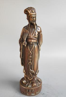 Chinese pure brass Wise man ancient strategist statue