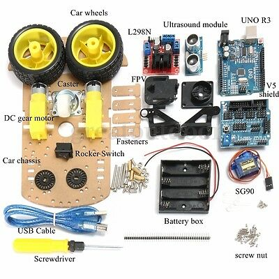 Auto Robot Smart Car Tracking Motor 2WD Ultrasonic Chassis Kit For Arduino MCU