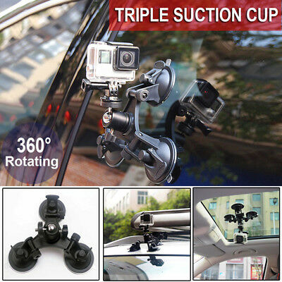 Triple Suction Cup Mount Low Angle Sucker Holder for Gopro Hero 3+ /4 /5 Camera
