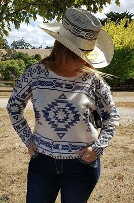 Pure Western Thomas Cook Aztec Long Sleeve Cowgirl Top oatmeal