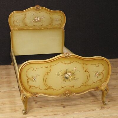 Single bed venetian furniture wooden lacquered painting antique style camera 900