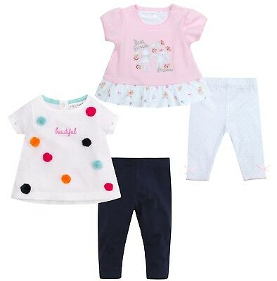 Baby Girls Cute Outfit T Shirt and Leggings 2 Piece Summer Bunny Pom Pom Size