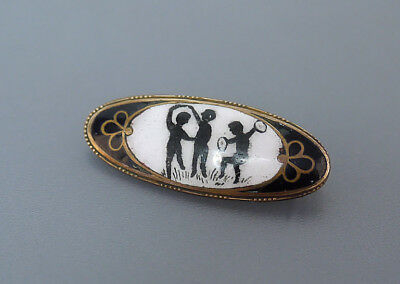 Antike Emaille Putten Brosche Antique enamel brooch ~1860-1880 Vergoldet Tombak