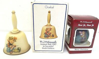 NOS Goebel MJ Hummel Hear Ye Hear Ye Merry Christmas Ornament 1985 1983 Bell