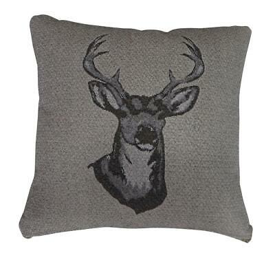 "18"" x 18"" Antler Stag Head Sofa Scatter Cushion Cover Brown Chocolate"