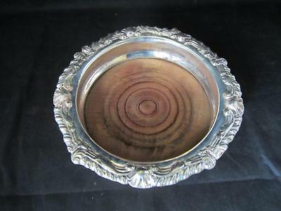Vintage Silver Plated Bottle Coaster / Stand With Cast Design Rim