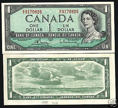 Canada 1 Dollar P75C 1954 Young Queen Prairie Unc World Currency Money Bank Note