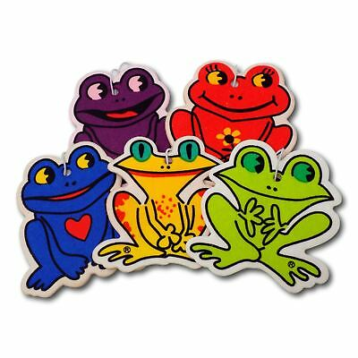5 Pack Assorted Frog Design Hanging Car Air Fresheners - 5 Scent Variety Pack
