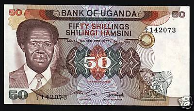 Uganda 50 Shillings P20 1985 Obote Dam Crane Kangaroo Unc Currency Money Note