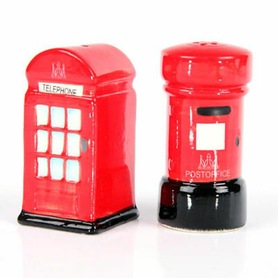 New Ceramic London Red Salt and Pepper Set Post & Telephone Box Condiments Pots