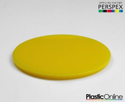 Laser Cut Plastic Circles Acrylic Discs Perspex 3mm, 5mm Yellow Gloss