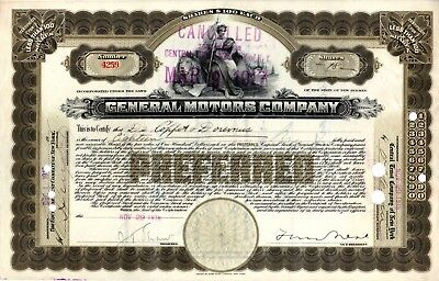 General Motors Company 1916 ( First Year) Stock Certificate #4259