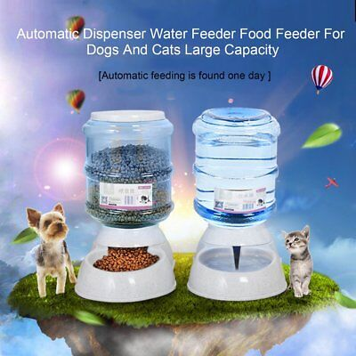 Automatic Pet Dog Cat Water Feeder Bowl Bottle Dispenser Plastic 3.5Liters P5&
