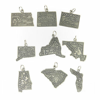 925 Sterling Silver United States Charms All 50 US States Available Made in USA