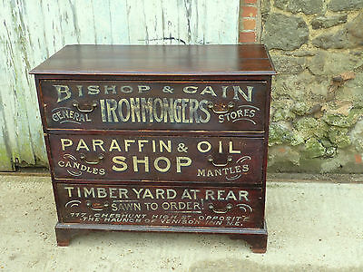 Painted Pine Chest of Drawers Advertising Bishop & Cain Ironmonger free delivery
