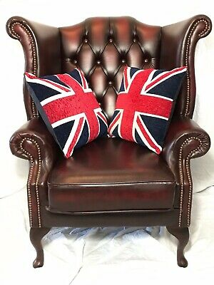 Handmade Chesterfield Style Reproduction Leather Wingback Chair Oxblood Red Xmas