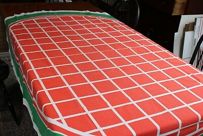 Vintage Cotton Oval Tablecloth 58x80 Fallani U0026 Cohn Tag Signed Bob Van Allen