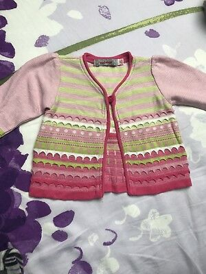 GILET MANCHES LONGUES ROSE BEBE FILLE 6 Mois Clayeux Comme Neuf Vert Rose Blanc