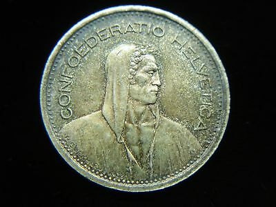 1954 B Swiss 5 Francs Silver Coin - Lovely & Orig. Toning