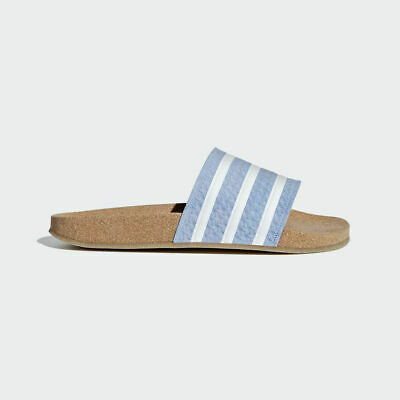 068ea1766cb3 Adidas Originals Women Adilette Cork Slides Ash Blue Lifestyle Sandal New  BC0221