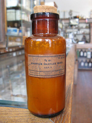 Strontium Salicylate Powder: Old Drug Store Compounding Chemical; corked bottle