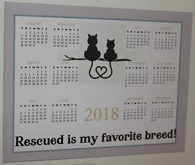 2018 Calendar Magnets - Lot of 10 - Rescued is my Favorite Breed - Cats