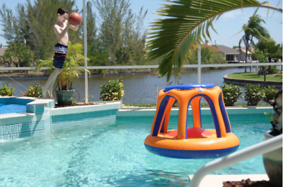 INFLATABLE SWIMMING POOL Basketball Hoop Floating Ball Game Water ...