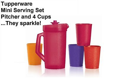 Tupperware Mini Beverage Set Pretend Play Sparkles Mini Pitcher Tumblers New