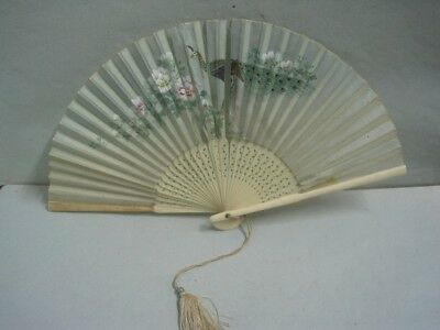 Antique fan in hand-painted silk with a bird