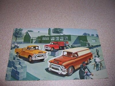 1957 1958 Gmc W550 Series Cement Mixer & Dump Truck Dealer Postcard
